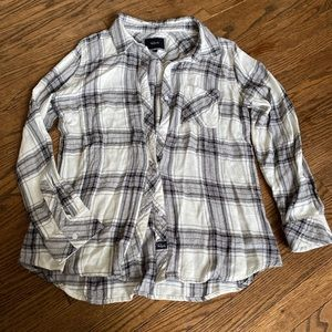 Rails Grey White Plaid Button Down
